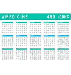 set line icons medicine vector image