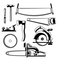 Set of equipment and tools for forestry and lumber vector