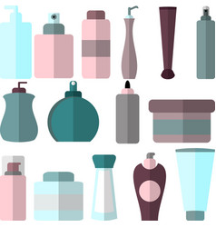Set of flat style cosmetic bottles different vector