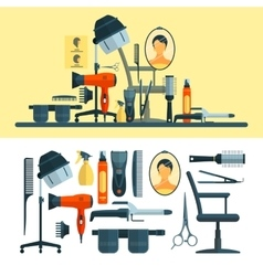 Set of hairdresser objects and tools vector