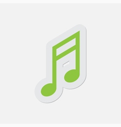 Simple green icon - musical note vector
