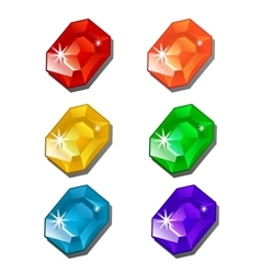 Six gems of different colors on white background vector image