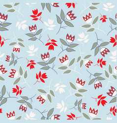 sky blue winter folk florals seamless pattern vector image