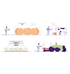 Smart agriculture flat set hi-tech autonomous vector