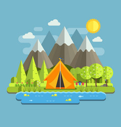 Spring camping landscape vector