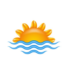 sun and sea for logo abstract creative concept vector image