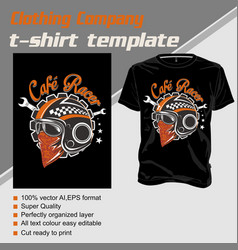 T shirt template helmet cafe racer isolated and vector