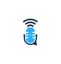 Talk podcast logo icon design vector