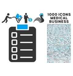 Test Task Icon with 1000 Medical Business Symbols vector image