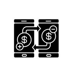 Transfer funds black glyph icon vector