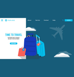 travel bags in airport tour agency website vector image