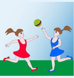 Two girls playing ball vector