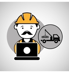 under construction laptop worker tow car vector image