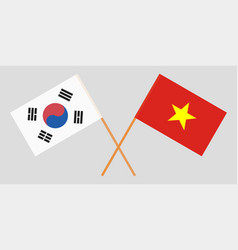 Vietnam and south korea flags vector