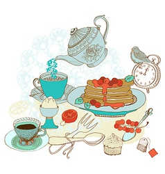 Vintage color morning tea background vector image