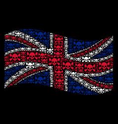 Waving united kingdom flag mosaic of skull vector