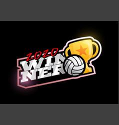Winner 2020 volleyball logo modern professional vector