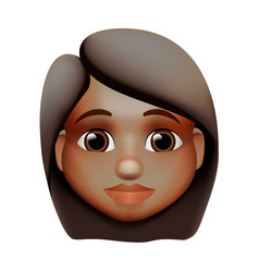 woman emoji icon dark skin tone red hair vector image
