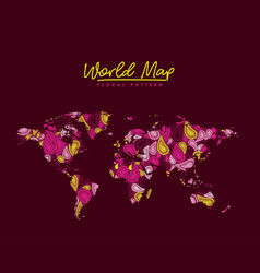World map floral pattern arabesque on dark red vector