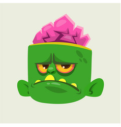 Zombie head cartoon character vector