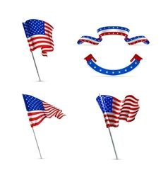 American flags set vector image vector image