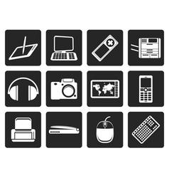 Black Hi-tech technical equipment icons vector image vector image