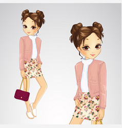 Brunette girl in pink jacket vector