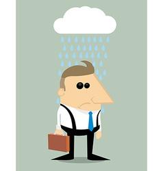 Cartoon businessman in rain under a cloud vector image vector image
