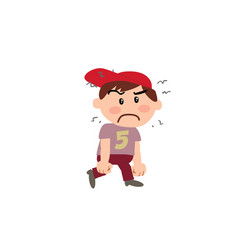 Cartoon character white boy with red cap angry vector