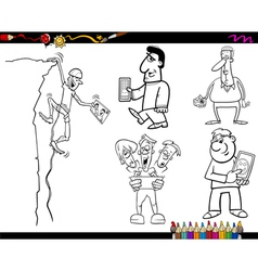 people and technology coloring page vector image