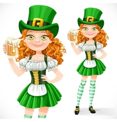 Beautiful girl leprechaun offers a beer isolated vector image