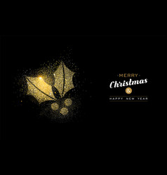 christmas and new year gold glitter mistletoe card vector image vector image