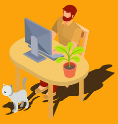 man working on computer at home isometric vector image vector image