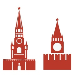 two variations of spasskaya tower and req vector image vector image