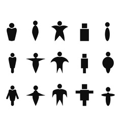 black abstract people icons symbol vector image vector image