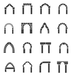 Black icons collection of arches vector image vector image