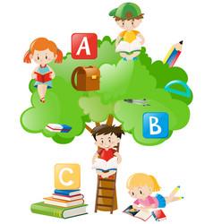 children reading books under the tree vector image