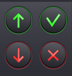 Set on black buttons up and down arrows cancel vector