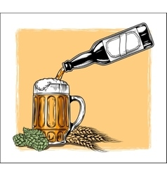 Beer is poured into a mug vector