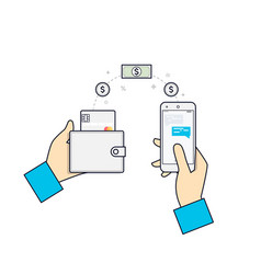 people sending and receiving money payments using vector image
