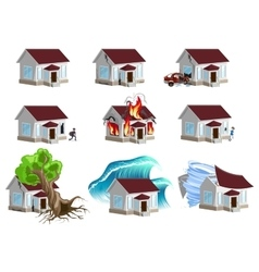 Set homes Disaster Home insurance Property vector image vector image