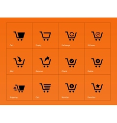 Shopping cart icons on orange background vector image vector image