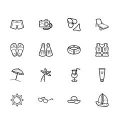 Summer travel element black icon set on white bg vector