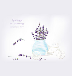 vintage bicycle miniature toy with lavender vector image
