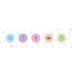 5 delicious icons vector