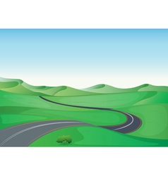 A green landscape and a road vector