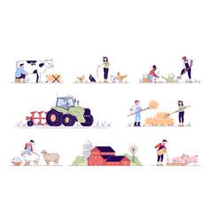 Agriculture flat animal husbandry cartoon vector