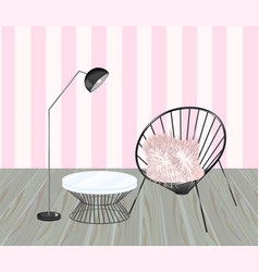 armchair and table striped background living vector image