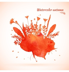 Autumn watercolor painted vector image