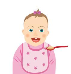 Baby girl eating vector